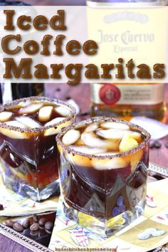 Iced Coffee Margarita Iced Coffee Margarita is coffee mixed with tequila a twist of lemon and served in a rimmed glass of ground coffee and sugar. Talk about a delicious eye-opener! Coffee Mix, Iced Coffee, Drinks Alcohol Recipes, Cocktail Recipes, Alcoholic Drinks, Beverages, National Margarita Day, Low Carb Appetizers, Coffee Cocktails
