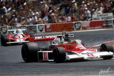 Hunt 1976 France McLaren M23 with Regazoni in a Ferrari in back