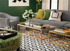 This WILL be my living room! Living Room Green, Green Rooms, Home Living Room, Living Room Decor, Green Walls, Carpet Design, Living Room Inspiration, Color Inspiration, Interior Inspiration