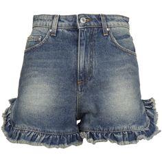 Msgm Ruffle Trim Denim Shorts ($165) ❤ liked on Polyvore featuring shorts, blue, ruffle trim shorts, short jean shorts, blue denim shorts, blue jean shorts and denim shorts