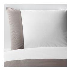 FÄRGLAV Duvet cover and pillowcase(s), gray/white gray/white King