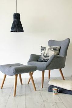 Grey Flannel Wing Back Armchair with Footstool (optional) - DELIVERY MID DECEMBER