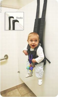 lol this just doesn't look right. hanging your baby on a restroom door! sure it would come in handy but......