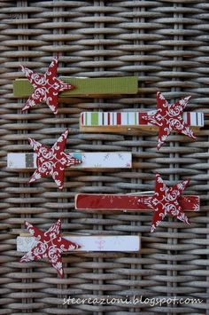 Make these cute star clothespins and put on the top of a paper bag folded down (to keep it closed) with goodies in it for the holidays.