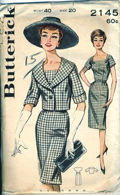 Vintage Butterick2145 CUT Misses Sheath Dress and Cropped Jacket Sewing Pattern Size 20= Bust 40.    Pattern Condition: CUT/complete    Envelope