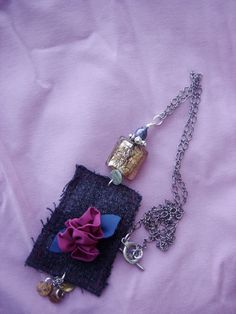 Jewelry Necklace  made with reused fabric Magenta by BBBsDesigns, $18.00
