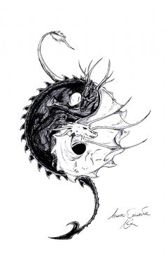 Yin Yang Tattoos, Dragon Yin Yang Tattoo, Dragon Tattoo Sketch, Dragon Tattoo Back, Pisces Tattoos, Ying Yang, Arte Yin Yang, Yin Yang Art, Yin And Yang