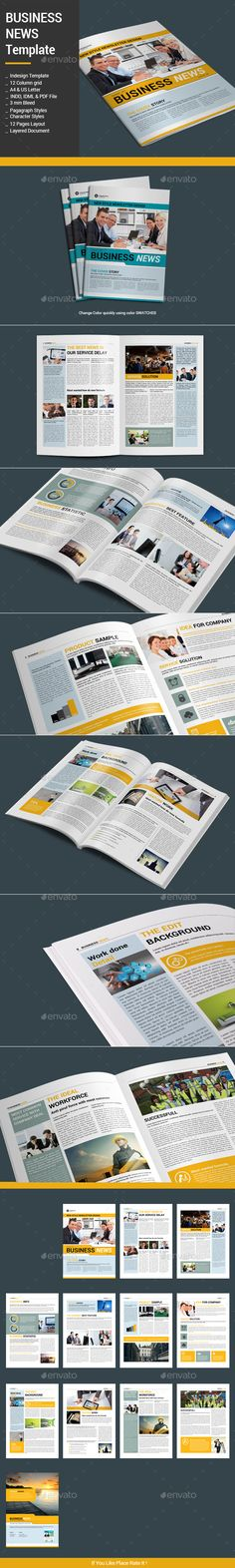 Business News Template InDesign INDD #design Download: http://graphicriver.net/item/business-news-template/13244814?ref=ksioks