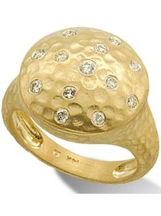 Meira T Yellow Gold and Diamond Hammered Cocktail Ring. Available at London Jewelers!