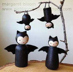 we bloom here: a little batty tutorial :: re-post Very very cute Halloween bat peg doll tutorial with many pictures!