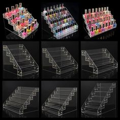 Nail Polish Acrylic Clear Makeup Display Stand Rack Organizer Holder 9 Style Hot in Health & Beauty, Nail Care, Manicure & Pedicure, Nail Practice & Display Nail Polish Stand, Nail Polish Storage, Diy Nail Polish, Clear Nail Polish, Diy Nails, Nail Polish Holder, Organizing Nail Polish, Clear Makeup Organizer, Lipstick Organizer
