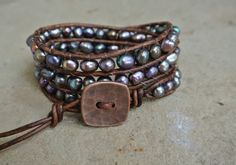 Galaxy Freshwater Pearl Beaded Leather Wrap by justhipstuff, $44.99