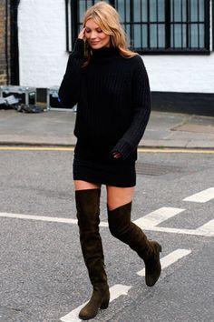 botas leggins + maxijersey+ mini ceñida. Me encanta!