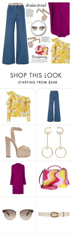 """Denim Trend: Wide Leg Denim"" by fashionbrownies ❤ liked on Polyvore featuring self-portrait, Solace, Giuseppe Zanotti, Chloé, Theory, Mark Cross, Prada and Gucci"