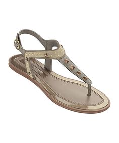 Look at this Green & Bronze Stud Golden Sandal on #zulily today!