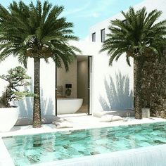 Pool and palm trees Small Backyard Pools, Swimming Pools Backyard, Swimming Pool Designs, Pool Landscaping, Outdoor Spaces, Outdoor Living, Dream Pools, Cool Pools, Exterior Design