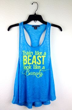 Train Like a BEAST Tank in Aqua/Highlighter