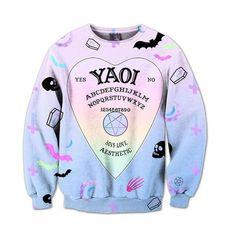 Yaoi Crewneck Harajuku Fashion, Kawaii Fashion, Fashion Outfits, Fashion Clothes, Sweater Hoodie, Crew Neck Sweatshirt, Graphic Sweatshirt, Kawaii Sweater, Rainbow Outfit