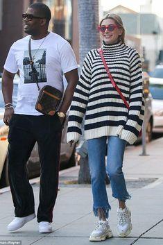 Hailey Baldwin wearing Le Specs X Adam Selman the Last Lolita Sunglasses, Supreme X Louis Vuitton Danube Shoulder Bag and Balenciaga Triple S Sneakers