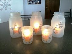 Tiffany and Chad in Real Life: Pinterest Craft Day: Bev's Frosted Mason Jars & Tin Can Luminaries