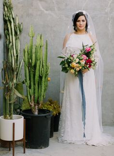 Take Me to Mexico City: Vibrant + Modern Mid-Century Wedding Inspiration   Green Wedding Shoes Spanish Style Weddings, Spanish Wedding, Bright Wedding Flowers, Flower Bouquet Wedding, Halter Tops, Diy Your Wedding, Ribbon Bouquet, Princess Ball Gowns, Practical Wedding