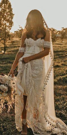 Hottest Wedding Dresses Collections for ❤ best wedding dresses sheath sweetheart neckline bohemian rustic rue de seine Wedding Dress Sleeves, Best Wedding Dresses, Bridal Dresses, Wedding Gowns, Lace Wedding, Wedding Cakes, Wedding Rings, Wedding Bride, Forest Wedding