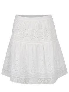 Krémová sukňa s pružným pásom a madeirou VILA Emilia