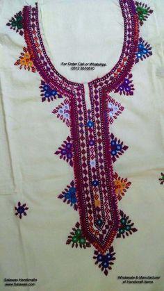 Crochet dress pattern children robes 20 new Ideas Embroidery On Kurtis, Hand Embroidery Dress, Kurti Embroidery Design, Embroidery Neck Designs, Hand Embroidery Videos, Embroidery Patterns, Embroidery Stitches, Balochi Dress, Crochet Cowl Free Pattern