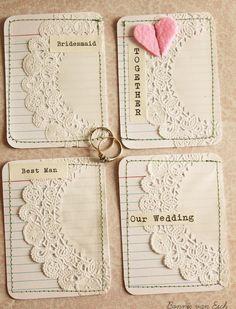 4 Wedding themed Journal cards. $3.00, via Etsy.