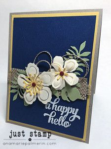 Stampin' Up! Botanical Blooms Friend Card   Just Stamp   Embellishing with Ribbon and Candy Dots