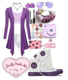 """""""Purple donuts? Where!?"""" by kawaiireborn ❤ liked on Polyvore featuring Converse, Barbour International, Polaroid, WithChic, Wet Seal, Givenchy, Chanel, Miss Selfridge, Ray-Ban and BeginAgain Toys"""