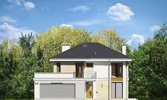 Elewacja frontowa projektu Riwiera 4 Home Fashion, Gazebo, House Plans, Garage Doors, Shed, Outdoor Structures, Cabin, House Styles, Outdoor Decor