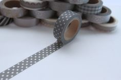 Tape PUNKTE GRAU WEISS 1,5 cm breit 10 meter lang von washitapes auf DaWanda.com