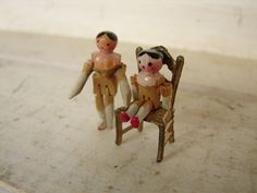 Two Tiny 1890 Victorian Peg Jointed Wooden Dolls 2 cm 2 5 cm Brass Chair | eBay
