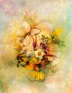 Blooming 2 - Pressed flower Art Mixed Media