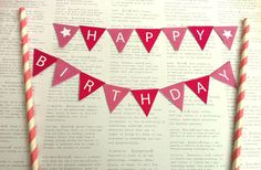 FREE printable cake bunting templates in Pink, Blue and an outline for coloured paper. by MyPaperPlanet