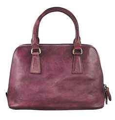Diophy Vintage-Dye Genuine Leather Top Handles Doctor Satchel Handbag 150228 (Purple) $89.99 (On sale from $250.00)