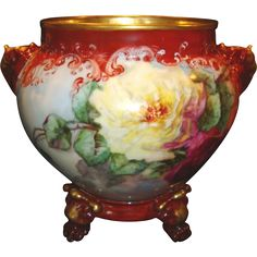 Jardiniere ~ Limoges Porcelain ~ Elephant Head Handles~Hand Painted with Red, Pink & Yellow Roses ~ Artist Dated & Signed ~ Jean Pouyat Limoges France 1898