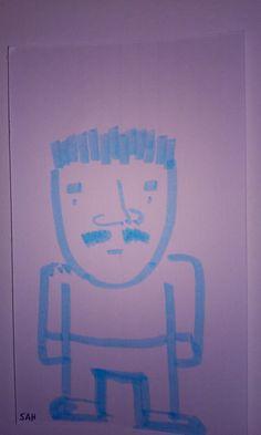 Blue Rounded Style Cartoon Character With Spiky Hair And Mustache Cartoon Drawings Cartoon Hair Cartoon
