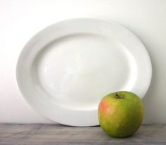 White China Platter Heavy Restaurant Ware by 22BayRoad on Etsy, $15.00