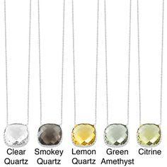 Fremada Sterling Silver Square Gemstone Necklace (Smokey Quartz, Lemon Quartz, Green Amethyst, Citrine or Clear Quartz)