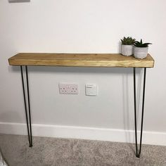 Narrow console table with hairpin legs wooden rustic hallway Rustic Hallway Table, Rustic Console Tables, Narrow Console Table, Entryway Tables, Tables Étroites, Max S, Scaffold Boards, Hallway Designs, Hairpin Legs