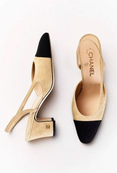Chanel black and tan sling back Chanel Shoes, Coco Chanel, Chanel 2015, Mode Shoes, Shoe Boots, Shoe Bag, Chanel Slingbacks, Slingback Shoes, Woman Shoes