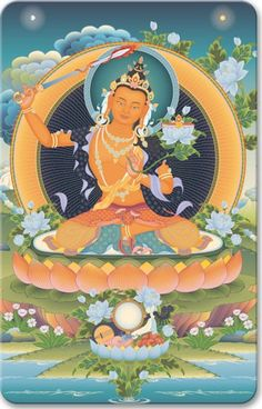 Manjushri 2 - Minicards - By format - Buddhist Art and Symbols Tibetan Art, Tibetan Buddhism, Asian Artwork, Thangka Painting, Taoism, Buddha Art, Funny Tattoos, Mandala Drawing, Indian Art