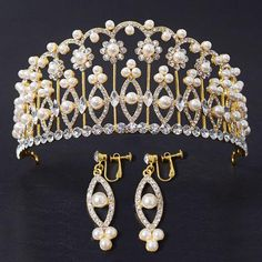 New Arrival Sparkling Gold Big Wedding Diamante Pageant Tiaras Hairband Crystal…
