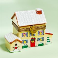 Limoges Yellow Winter House Box The Cottage Shop