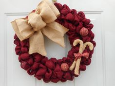 Christmas burlap wreath, Burgundy burlap wreath, Holiday wreath, Burlap wreath, Candy cane wreath, Rustic wreath, Country wreath, RTS by ChloesCraftCloset on Etsy https://www.etsy.com/listing/257728881/christmas-burlap-wreath-burgundy-burlap