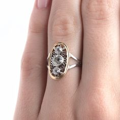 Intricate Edwardian Era Navette Style Diamond Engagement Ring | Gulfstream from Trumpet & Horn. Love navette rings and <3 the look of white and yellow gold on this ring!!!!! The more I look at this ring, the more in love with it I am!