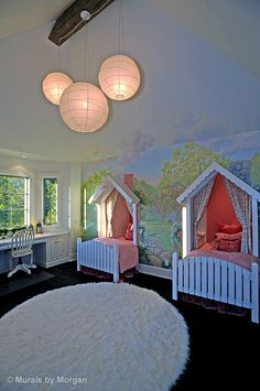Cottage bedroom with built-in beds and desk & painted mural. Great use of an extra closet, and gives lots of play space! Dream Rooms, Dream Bedroom, Girls Bedroom, Bedroom Ideas, Bedroom Decor, Ideas Habitaciones, Deco Kids, Murals For Kids, Storybook Cottage