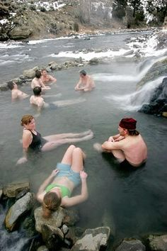 Three miles inside Yellowstone is a part of the Gardiner River known as Boiling River, a natural spa.